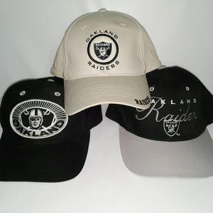 Lot of 3 Vintage Wool Snapback Hat Oakland Raiders